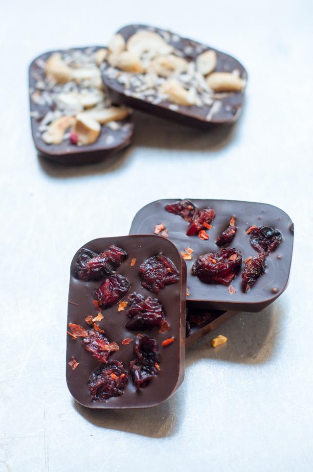Selbstgemachte Schokoladentafeln Cranberry Chili