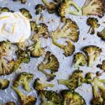 Brokkoli aus dem Backofen mit zitronigem Jogurt
