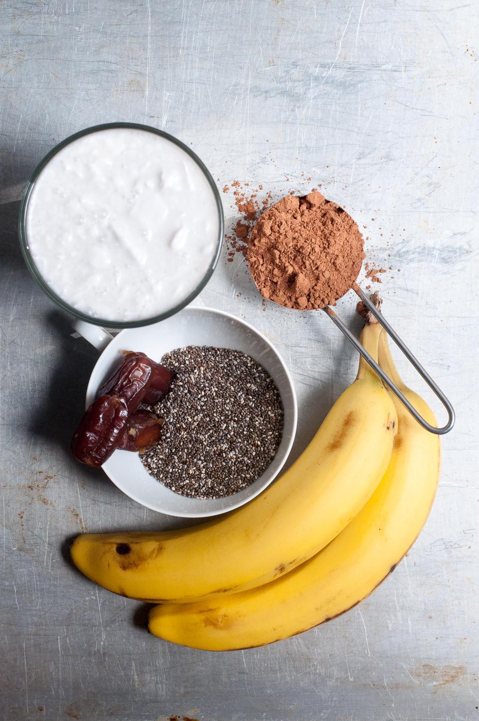 Zutaten für schokoladigen Chia Pudding
